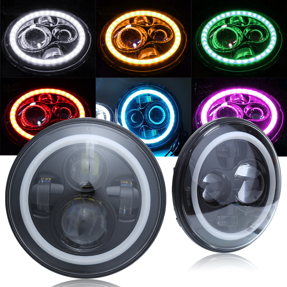 7 30V 40W Round LED Auto Car Headlight Angel Eye Headlamp Light Lamp Bulbs for Jeep Wrangler Automobiles Replacement Accessory high quality 2pcs new p6 25w h7 car led headlight hot sale bulbs auto parts headlamp 3000 4000 5000 6000k