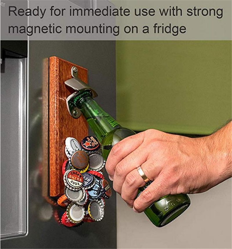 Wall Mounted Bottle Opener With Magnetic Cap Catcher Wooden Refrigerator Mount With Magnets Wood Decor Fathers Day Gifts For Dad