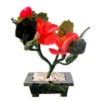 Fengshui natural Jade stone flower Plant for Good Fortune,Good Luck J2089