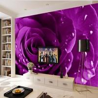 Custom Large Scale Murals Of Modern Aesthetic Simple Elegant High Definition Purple Rose Wallpaper Background Wallpaper