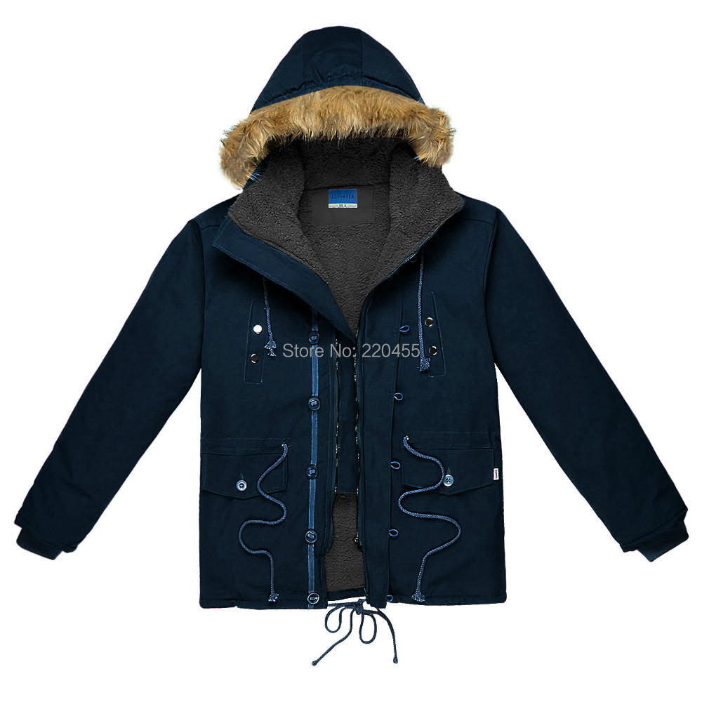 2015 Winter Mens Parkas Faux Fur Hooded Male Jackets Coats Cotton padded Warm Thicker Fleece Lined 5450 - iLoveSIA store