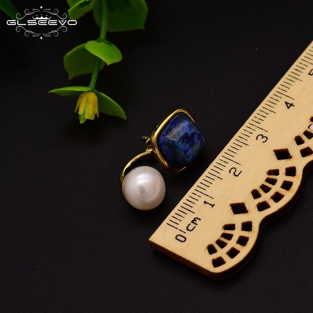 GLSEEVO Natural Square Lapis Lazuli Fresh Water Pearl Drop Earrings For Women 925 Silver Ear Pin Handmade Fine Jewelry GE0327