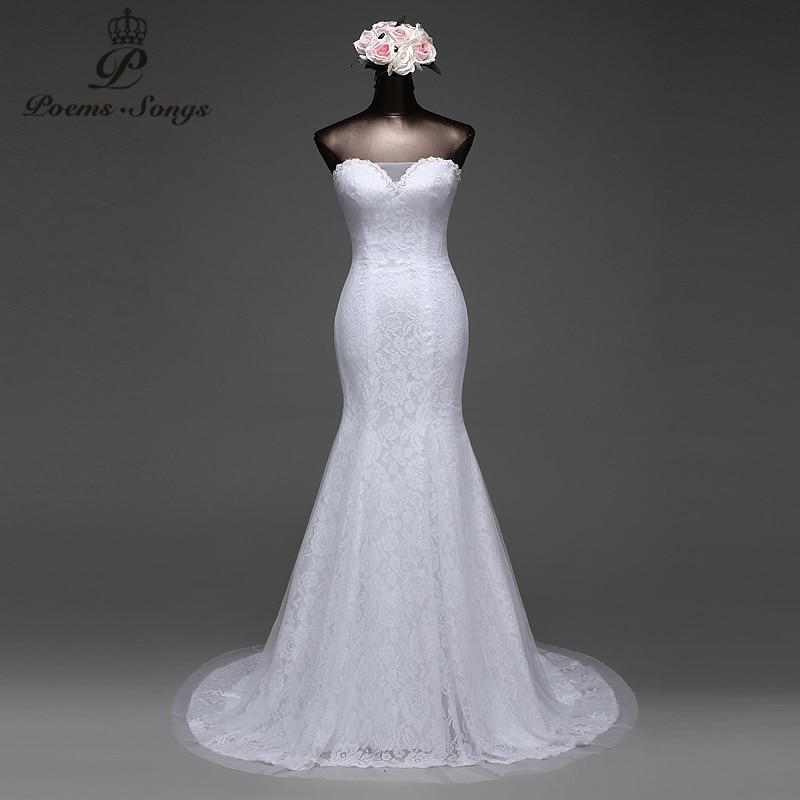 PoemsSongs high quality lace and silky organza mermaid wedding dress vestido de noiva robe de mariage