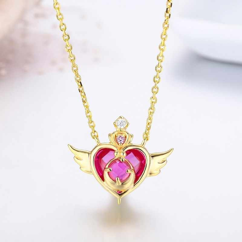 Cute 925 Sterling Silver Gold Color Rose Red Stone Charm Heart Choker Pendant Necklace For Women Girl Crisis Moonlight Jewelry