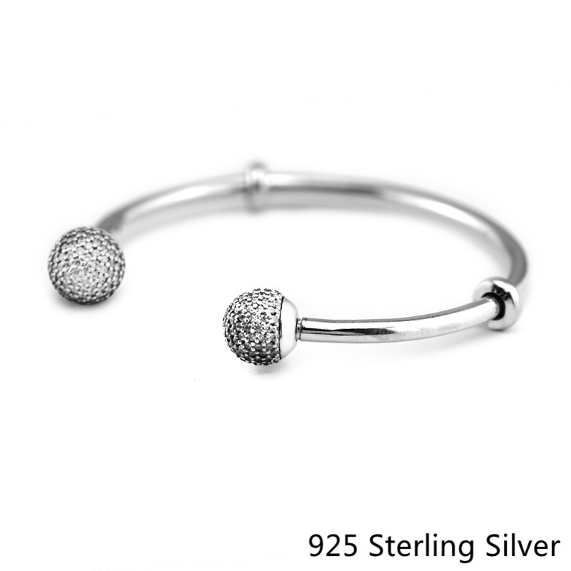 925 Sterling Silver Open Bangle with Clear CZ European Style Moments Silver Bangle For Women Fashion Unique Charms925 Sterling Silver Open Bangle with Clear CZ European Style Moments Silver Bangle For Women Fashion Unique Charms