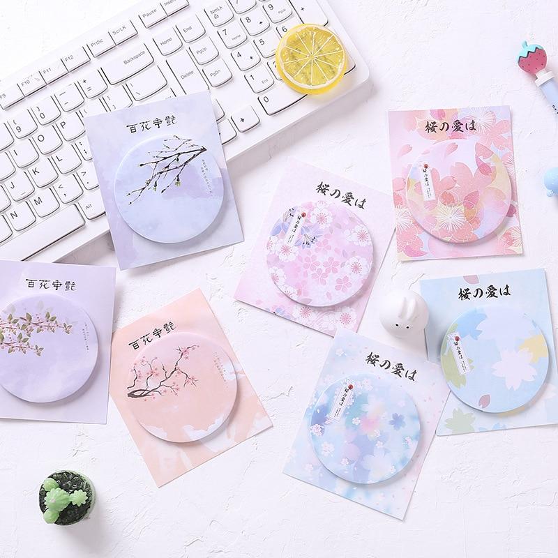Beautiful Sakura Peach Blossom Memo Pad N Times Sticky Notes Memo Notepad Bookmark Gift Japanese Stationery