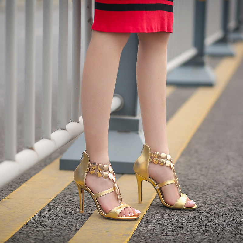YMECHIC Luxurious Party Wedding Gold Silver Red Peep Toe Gladiator Sandals Women High Heel Shoes Summer