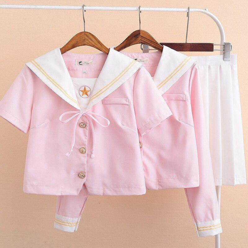 UPHYD Light Pink Japanese School Uniform JK Class Uniforms Sailor Suit College Wind Suit Female Students Uniforms S-XXL