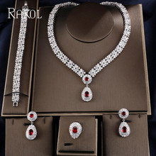 RAKOL Exclusive Dubai White Color Jewelry Luxury Cubic Zirconia Necklace Earring Bracelet Party Jewelry Set For Women
