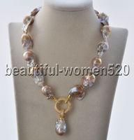 Z8784 30mm Lavender Baroque Keshi Reborn Pearl Necklace Pendant CZ 17inch