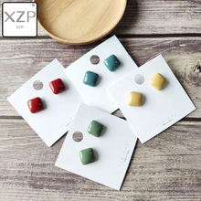 XZP S925 Exquisite Korean New Vintage Geometric Candy Colors Square Enamel Cute Stud Earrings For Women Fashion Oorbellen Bijoux