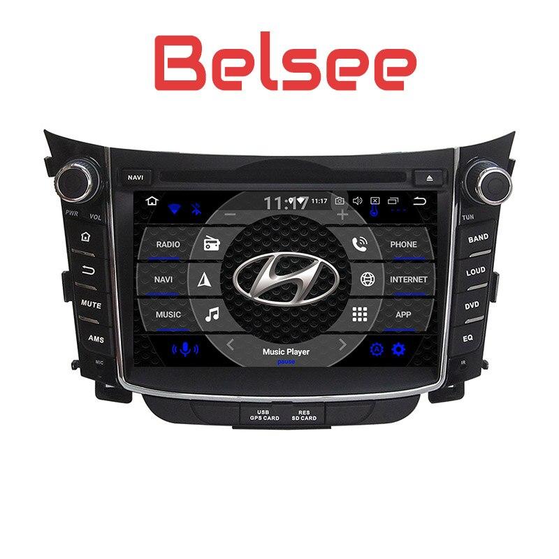 Belsee pour Hyundai I30 Autoradio Android 8.0 2 Din stéréo GPS Autoradio lecteur DVD WiFi Bluetooth OBD2 TPMS caméra DVR Carplay
