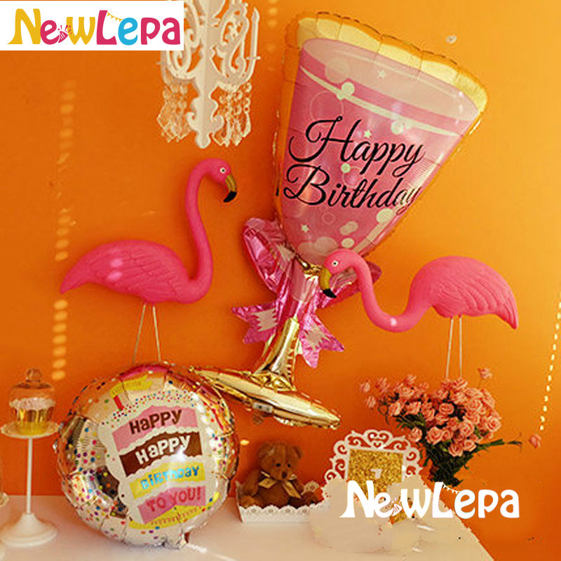 Nove teme Flamingo Birthday Foil Balloons Happy Birthday Dekoracija - Prazniki in zabave - Fotografija 2