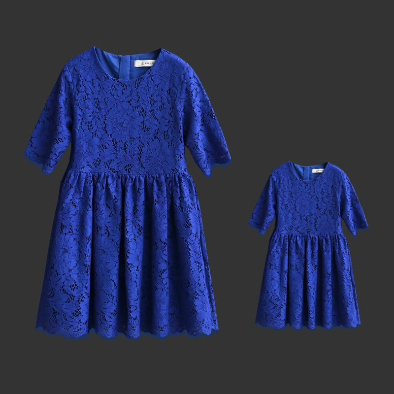 Brand Summer fashion family fitted clothes mother daughter dress short sleeve lace A-line Paternity skirt mom baby girls dresses 2016 spring family fashion clothing half sleeve elegant floral print dress clothes for mother and daughter baby girls dresses