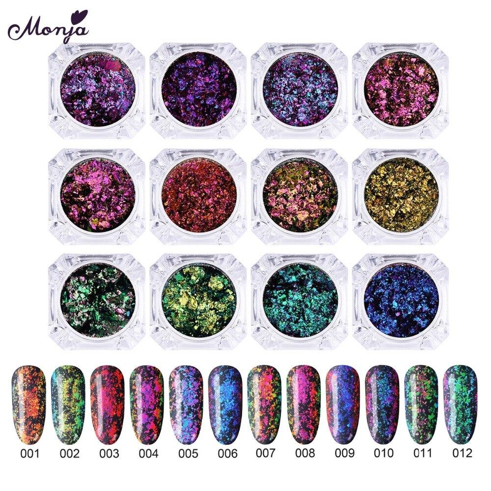Schönheit & Gesundheit Nails Art & Werkzeuge Sparsam Monja 12 Farben Nail Art Chamäleon Flake Pulver Staub Unregelmäßige Pailletten Glanz Sparkly Chrome Pigment Diy Dekorationen Starke Verpackung