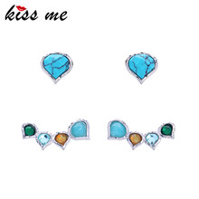 KISS ME 2 Pairs /Set Multi Color Synthetic Stone Crystal WaterDrop Stud Earrings Fashion Jewelry Women Bijoux(China)