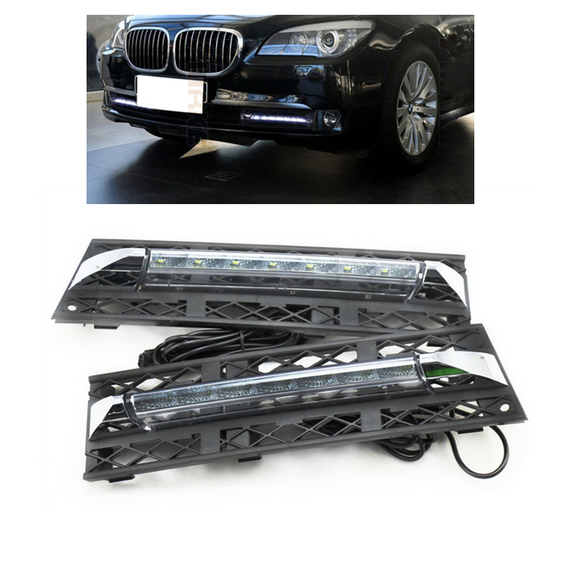 Headlight 2PCS LED DRL Day Light For BMW 7 Series F01 F02 730i/740i/750i/760i 2009-2012 Daytime Day Fog Lights DRL Run lamp