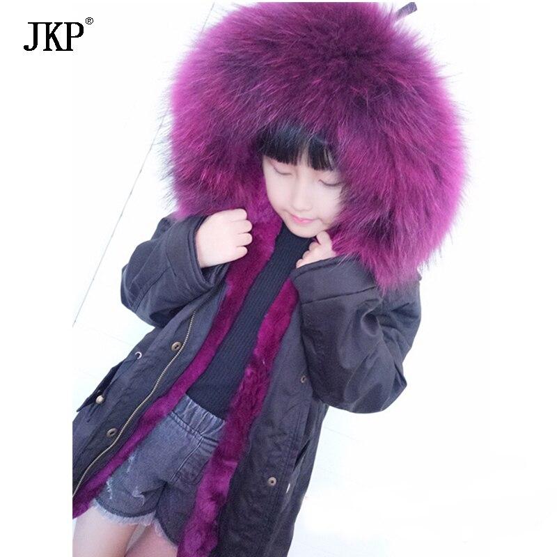 JKP 2018 Hiver nouveaux enfants de raton laveur col de fourrure véritable fourrure manteaux filles et garçons porter véritable lapin Parkas Survêtement Manteaux CT-04