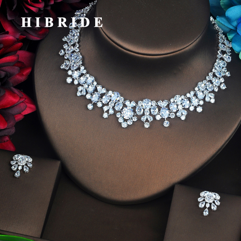HIBRIDE New Trendy Clear Big AAA Cubic Zirconia Jewelry Sets Luxury Necklace Set Wedding Dress Accessories