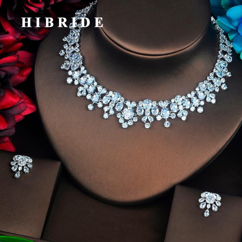 HIBRIDE nowy Trendy jasne duże AAA cyrkonia biżuteria ustawia luksusowy naszyjnik zestaw suknia ślubna akcesoria Party pokaż prezent N 500 w Zestawy biżuterii od Biżuteria i akcesoria na  Grupa 1