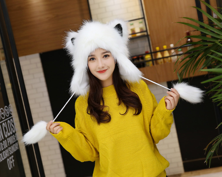 2017 Winter Faux Fox Fur Caps for Women Warm Bomber Hats with Ears Girls Novelty Cartoon Animals Party Caps Female Hats Gift 13