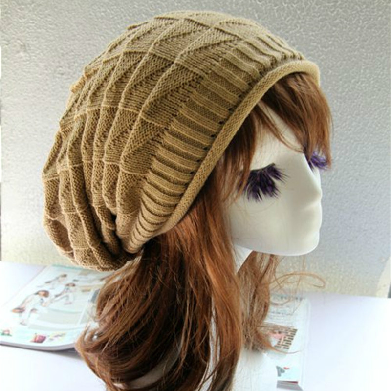 2018 Women Winter Knitted Wool Beanies Cap Unisex Casual Hats & Caps Men Solid Color Hip-Hop Skullies Beanie Warm Hat  Long Size