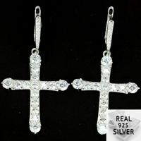 Real 10.3g 925 Solid Sterling Silver Classic Cross White Sapphire Woman's Gift Earrings 53x27mm