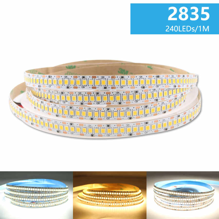 LED Strip Lampu DC 12 V 2835 Putih 5 M Putih Hangat Alam Strip Lampu 300/600/1200 LED Tahan Air Dapur Dekorasi Rumah