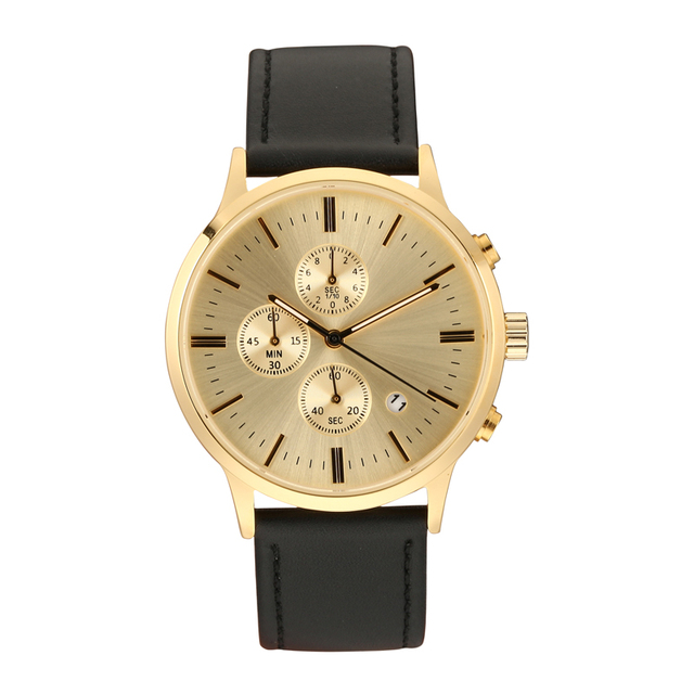 Men's Fashion Top Brand Luxury Leather Japan Movement Date Function Watch