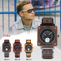 Reloj cuadrado de madera de lujo Unisex 4