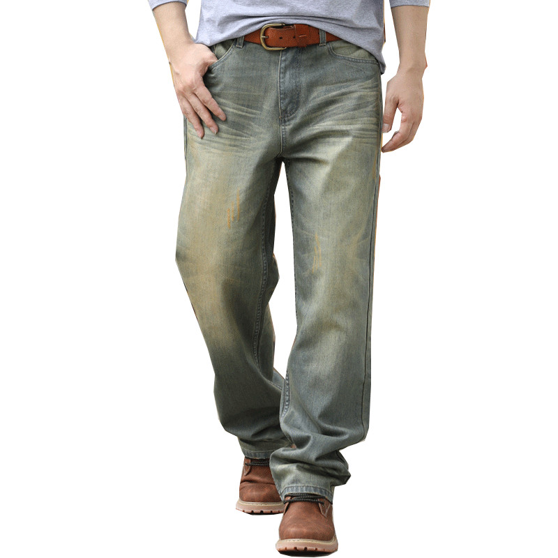 Retro Color Large Size W30-W44 Wide Leg Loose Blue Jeans Men Skateboard Pants Mens Baggy Hip Hop Jeans Big and Tall Clothing hot new large size jeans fashion loose jeans hip hop casual jeans wide leg jeans
