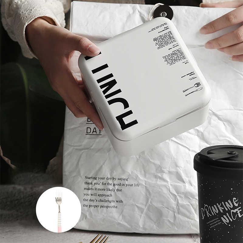 1000 Ml Vierkante Gezonde Materiaal Lunchbox 2 Layer Eenvoudige Bento Dozen Magnetron Servies Voedsel Opslag Container Lunchbox Keuken