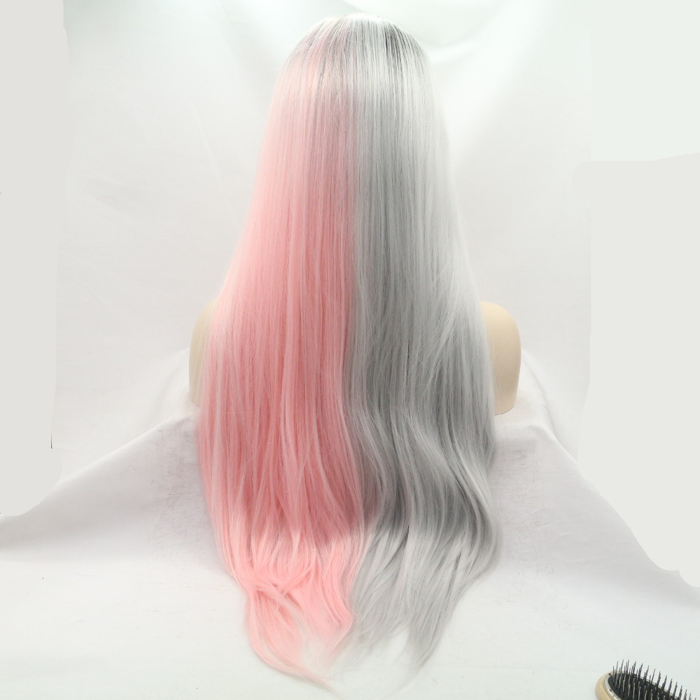 Marquesha Half Hand Tied Natural Straight Heat Resistant Fiber Synthetic Dark Root Grey Pink Lace Front Ombre Wig For Wome