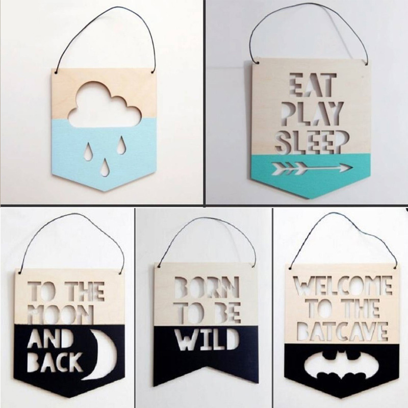 Wooden Hanging Decor Garland Ornament Nordic Style Nursery Decors Photography Props Slogan Banner Kids Room Mascot