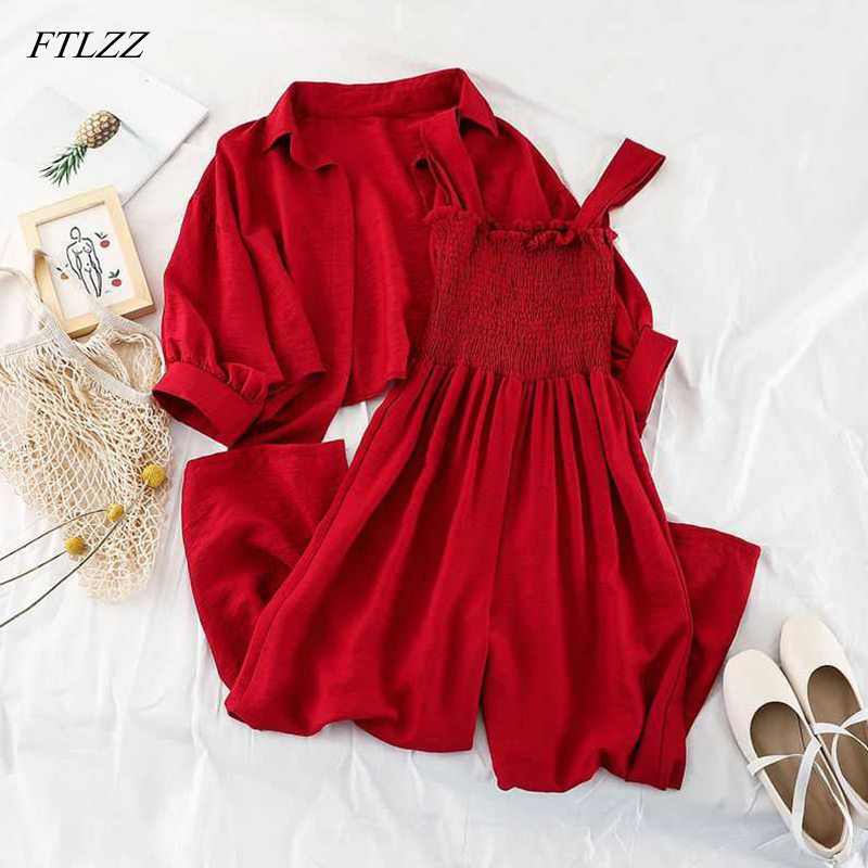 FTLZZ Summer Two Pieces Set Women Loose Short Sunscreen Jacket + Suspending Rompers Clothing Female Casual Holidays Suit