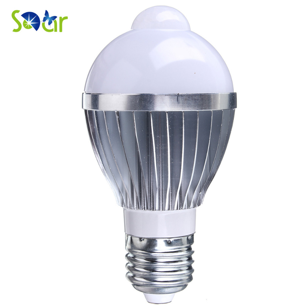 E27 5w 10 LED Infrared Motion Detection Light Sensor PIR Pure White Bulb Lamp for Lobby Carport Hallway Security Decoration best promotion e27 5 7 9w 5730 smd pure warm white motion pir infrared sensor detection led light lamp bulb 85 265v