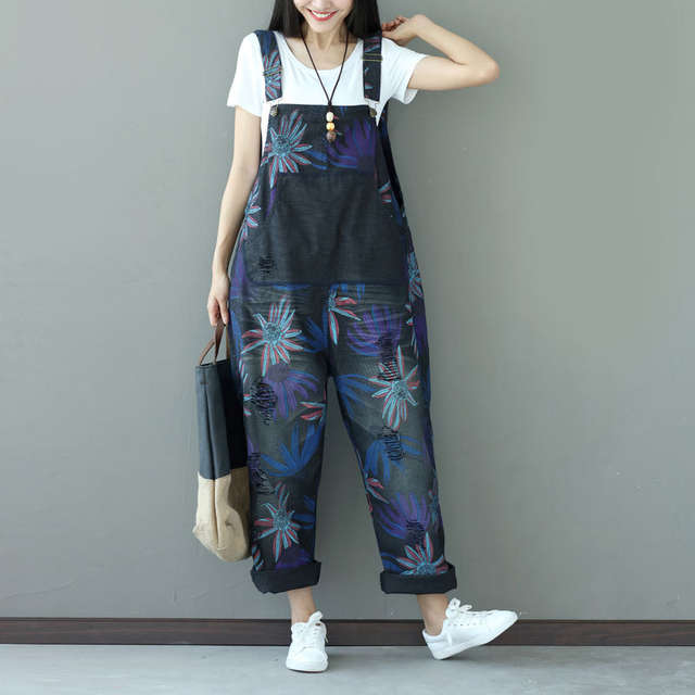 469119f7ee1 Women Casual Vintage Holes Denim Jumpsuits Ladies Loose Retro Floral Printed  Plus Size Overalls Pants Female