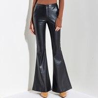 2018 осенняя и зимняя одежда Новые pu кожаные брюки микро колокольчики брюки женская одежда брюки тонкие плюс бархатные широкие брюки уличная