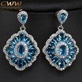 2017 New Trendy Gorgeous Big Light Blue Created Sapphire Crystal Drop Earrings For Women Wedding Bridesmaid Jewelry Gift CZ340