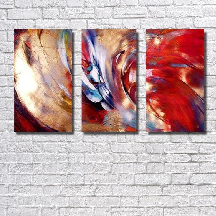 ᗐ main Paitned livraison gratuite abstraite 3 pe§a rouge et