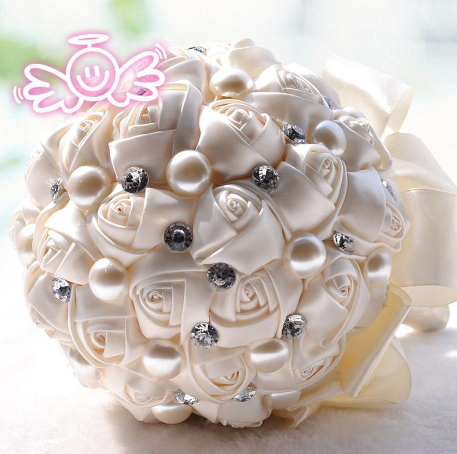 AYiCuthia Elegant Pearl Wedding Flower Mini Bridal Bouquets Crystal Sparkle Bouquet Bride Bridesmaid Wedding Bouquet S27