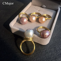 CMajor Gold Filled Wire Simple Natural Freshwater Baroque Pearl Ring For Women Fashion Baroque Pearl Jewelry Mother's Day Gift