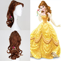 High Quality Fahion Style Beauty And The Beast Princess Belle Anime Cosplay Wig Synthetic Long Curly Brown Hair Ponytail + Cap