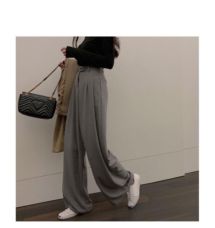 Sólidos Ampla Perna Calças Calças Das Senhoras