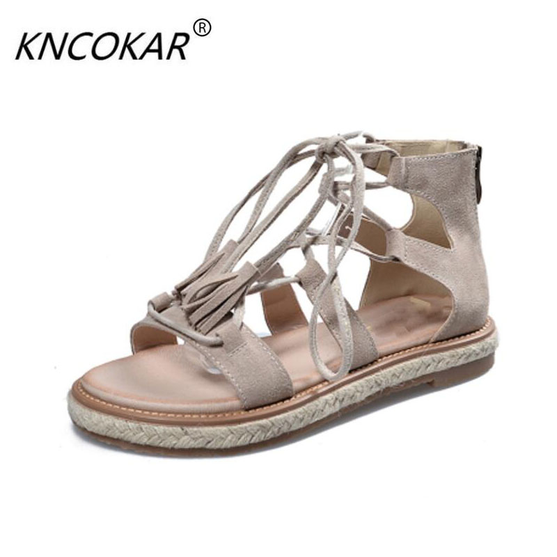 KNCOKAR The 2018 new high-quality leather and leather sandals in the summer flat with south Korean students wearing Roman shoes benchmarking in the kenyan and south african electricity sectors