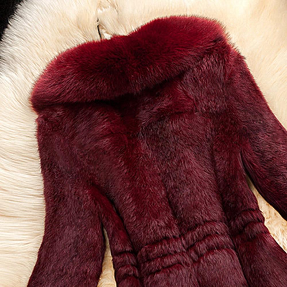Talla Sintética rojo De Abrigado Abrigo Negro Piel Para Invierno Grande 2018 Moda Vintage Sintética Negro blanco Mujer qtw8FwU