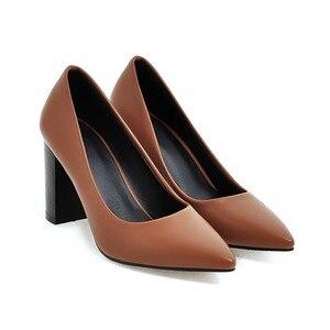 Image 2 - Hot Sale Brand New Glamour Beige Brown Women Dress Pumps Black Square Heels Lady Casual Shoes AC357 Plus Big Size 4 10 33 43