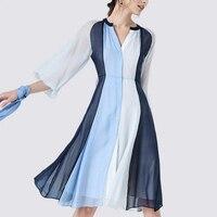 Женское шелковое платье с длинным рукавом, с v образным вырезом, из натурального шелка, высокое качество, бесплатная доставка
