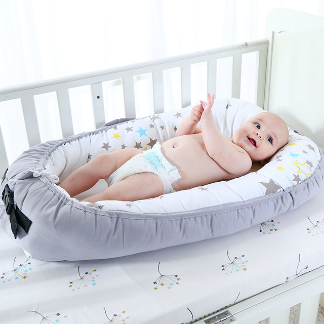 Portable Baby Bed For Baby with Bumper Bionic Cot Mattress – Blue Elephant
