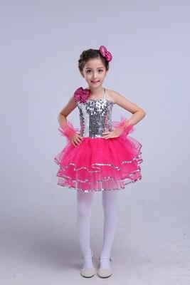 Новая детская Пышная юбка с блестками, одежда для выступлений, детское современное платье принцессы для девочек, костюмы для джазовых танцев - Цвет: Красный